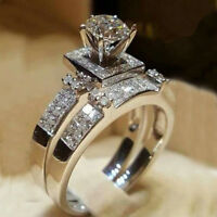 2PC Luxury Women White Sapphire Silver Ring Wedding Engagement Jewelry Sz6-10 CN