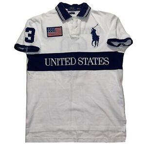 Polo Ralph Lauren Big Pony 3 Polo SHIRT Custom Fit Medium RARE UNITED STATES USA