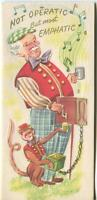 VINTAGE ORGAN GRINDER MUSIC MAN BOW TIE MONKEY COFFEE CUP 1 CALLA LILY POND CARD