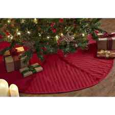 """CLASSIC CHRISTMAS RED REVERSE SEAM CHRISTMAS TREE SKIRT 48"""" D WOVEN CABLE KNIT"""