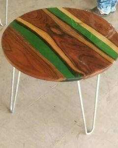 """18"""" Epoxy Resin coffee Round Table Top Home Office Decor"""
