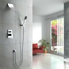Polished Chrome Wall Mount Waterfall Shower Faucet Spout Head Hand shower System