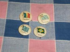 t. 4 Late 1800's Flag Pins Gum Cigarettes Roumania Uruguay Brazil Greece