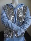 Victoria's Secret PINK Zip Up Hoodie LAVENDER Front in Sequins Bling Pick Size