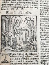 Post Incunable Life of Saints Heiligenleben Woodcut Leaf Saint Thasis - 1521