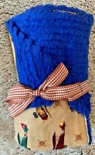 Boy's Handmade Burp Cloth-Vintage Airplanes and Royal Blue Chenille Fabric