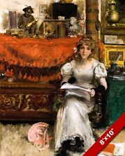 YOUNG WOMAN WEARING DRESS SEATED HOLDING PAPERS PAINTING ART REAL CANVAS PRINT