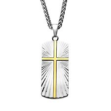 """INOX 316L Stainless Steel Rays of Light Christian Cross Signet Men' Necklace 24"""""""