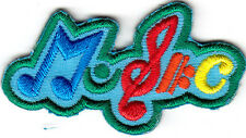 """MUSIC"" PATCH w/MUSIC NOTES-Iron On Embroidered Patch - Rock N'Roll, - Jazz"