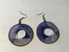 HANDCRAFTED THREAD EARRINGS  ROUND BLUE  3CM