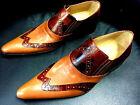 Chelsy Chaussures italien designer Mocassins fait à la main à marron clair