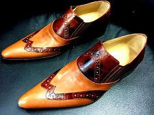 CHELSY Zapatos Italiano Diseñador Mocasines hecho a Mano Marrón Claro Mix 40