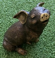 More details for solid bronze mini pig ornament garden pond feature cute face heavy sturdy
