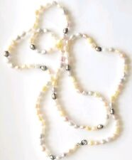 """Long Multi Color Freshwater Pearl Beaded 925 Clasp Necklace 36"""""""