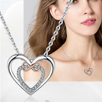 Hot Fashion Women Double Heart Crystal Rhinestone Silver Chain Pendant Necklace