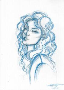 original painting A4 10ShX art samovar Colored Pencil female portrait Signed