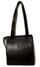MULBERRY Vintage CROC ENGLAND HANDBAG BROWN LEATHER TOTE EMBOSSED BAG GC