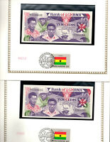 Ghana Banknote 10 Cedis 1984 P 23 UNC with UN FDI FLAG STAMP 2 Consecutive