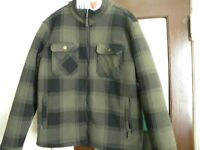 WARM Cabela's  Lined Green and Black Plaid  Jacket Mens - LARGE