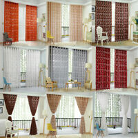 Home Door Window Floral Curtain Tulle Drape Panel Sheer Scarf Valances Divider