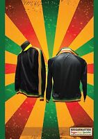 RASTA BLACK TRACKSUIT TOP WITH RED GOLD & GREEN STRIPES RASTA ROOTS & CULTURE