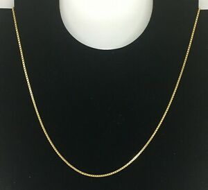 9ct Yellow Gold Box Chain Necklace 18.5 Inches Hallmarked