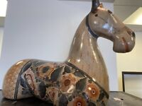 SOLIS FOLK ART MEXICAN POTTERY LARGE HORSE SIGNED