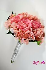 Rose and Hydrangea Silk Wedding Bouquet – Ivory, Coral, Blue, Pink