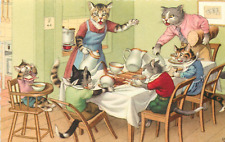 "Mainzer Anthropomorphic Cats ""Chaos At Dinner Table"" #4850 Postcard"
