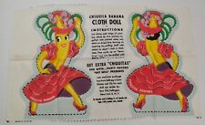 VINTAGE CHIQUITA BANANA CLOTH DOLL PATTERN KELLOGG'S CORN FLAKES W/ENVELOPE