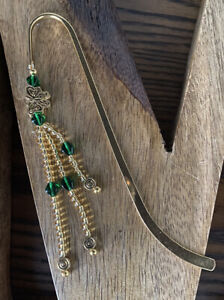 Emerald Green And Gold Beaded Shepherd Hook Bookmark With A Butterfly Charm