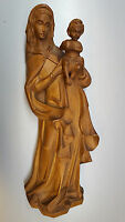 Virgen Con Jesús Niño Mary Maria Madera Figura de Relieve Mural L:55CM