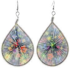 T1314F Multi-Color Flower Thread Earrings Teardrop Fashion Girl/Lady Hook Dangle