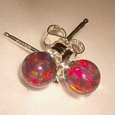 Globe Red Balls Fire Opal Earrings Gemstone solid sterling silver 925 Pierced