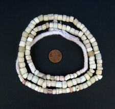 Antique White Green Heart Beads 8mm Ghana African Cylinder Glass Large Hole