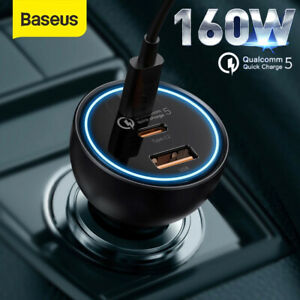 Baseus 160W Car Charger Fast Charging Dual Type-C+USB 3 Ports For iPhone 13 12