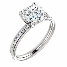 1 carat center Round Diamond Engagement Solitaire 14K White Gold Ring, F-SI2