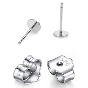 S925 Sterling Silver Earrings Posts Ear Stud Pin with Backs DIY Making Findings