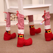 Striped Christmas Dining Table Chair Leg Feet Socks Shoes Cover Party Decor