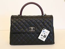 New Chanel Black Caviar Medium Coco Handle Lizard Kelly Flap Bag Ruthenium HW