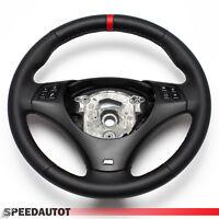 Tausch Lederlenkrad BMW M-POWER E90 E91 NEU LEDER BLENDE  SCHWARZ - Rot Ring