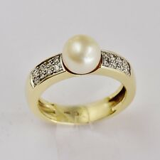 CULTURED PEARL RING 7.6mm AKOYA PEARL GENUINE DIAMONDS 14K GOLD SIZE O1/2 NEW