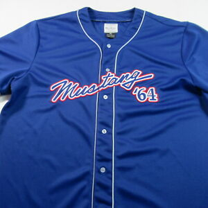 Ford '64 Mustang Button Baseball Jersey Stitched Auto Car Blue David Carey XL