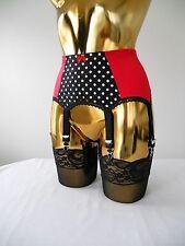 """2XS Red Lycra Polka Dot 6 Strap Designer Retro Style Suspender Belt 22-24"""" Waist"""
