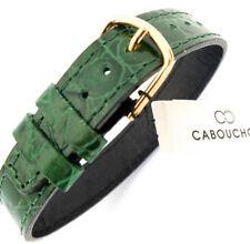 Cabouchon 14mm 1 piezas cocodrilo verde oscuro grano cuero reloj correa larga fácil ajuste.