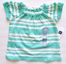 New baby gap short sleeve shirt girls size 12 18 months green white stripes