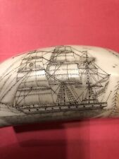 "Faux SCRIMSHAW of a WHALE's TOOTH, REPLICA of sailing vessel THE ""COMET"""