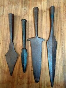 Antique Solid War Spear Head Hand Forged Unique Shape Pike Spike 4 pc Old Spears