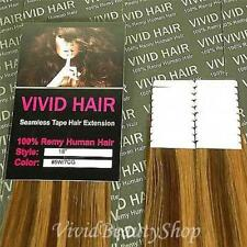 "20pc 18"" Remy Seamless Tape Skin Weft Human Hair Extension Chestnut Brown Blonde"