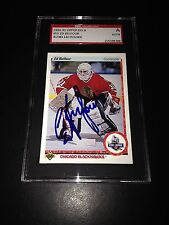 Ed Belfour Signed 1990-91 Upper Deck Rookie Card Blackhawks SGC Slabbed AU381140